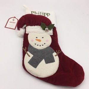 "Pottery Barn Snowman Christmas Stocking ""Philipp"""